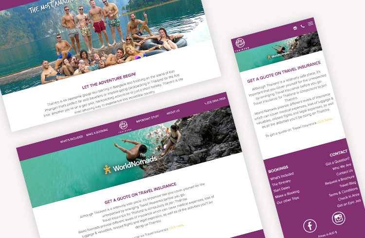 Screenshots of Intro Travel's Travel Insurance landing page