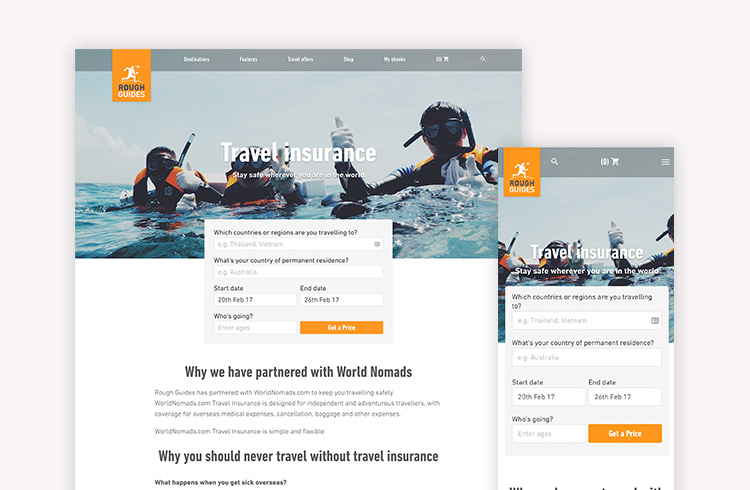 Screenshots of Rough Guides Travel Insurance landing page