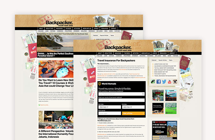 Screenshots of South East Asian Backpacker Travel Insurance implementation
