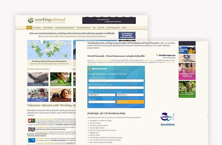 Screenshots of Working Abroad Travel Insurance landing page