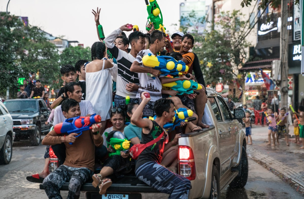 Teams equipped with water pistols and balloons decend on the streets of Siem Reap.